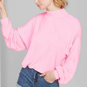 Pink Mock Turtleneck Cropped Sweatshirt